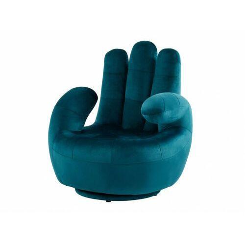 Vente-unique Fotel obrotowy w kształcie dłoni catchy z weluru - niebieski