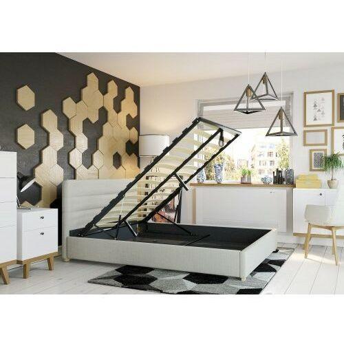 Łóżko 160x200 tapicerowane monza + pojemnik + materac sawana beżowe marki Big meble