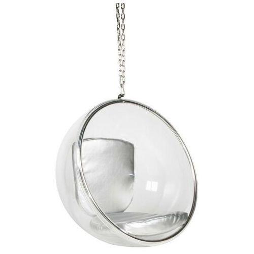Sofa.pl Fotel wiszący bubble poduszka srebrna - korpus akryl, poduszka ekoskóra