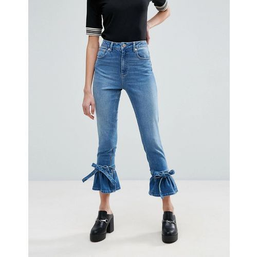 farleigh high waist slim mom jeans with flared bow hem in prince wash - blue marki Asos