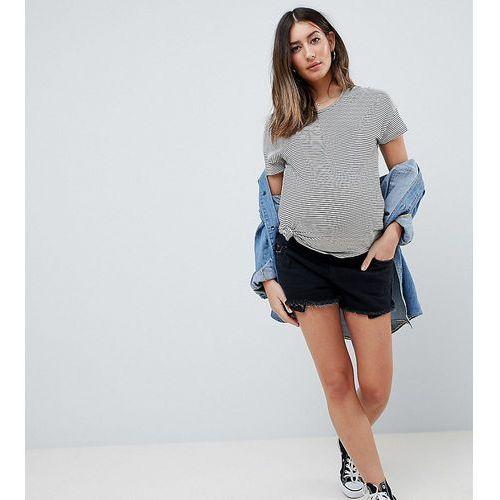 Asos maternity Asos design maternity tall denim mid rise short with raw hem in washed black - black
