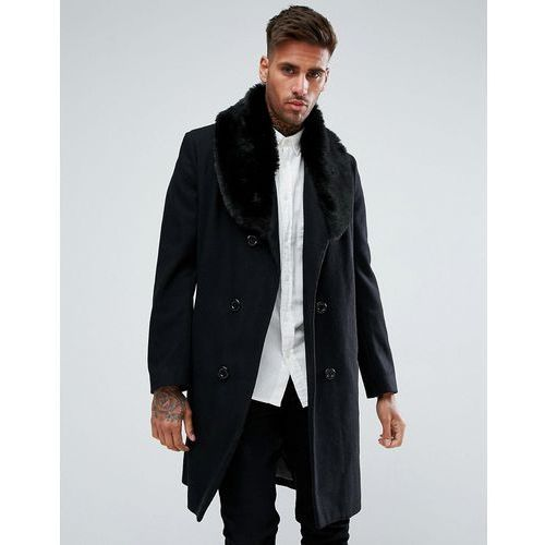 Boohooman double breasted wool overcoat with faux fur trim in black - black