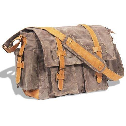 płócienno-skórzana torba listonoszka na ramię, brązowa marki Vidaxl