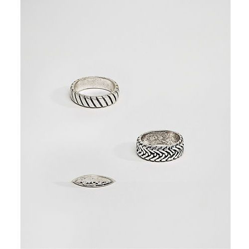 ASOS DESIGN ring pack with embossing in burnished silver tone - Silver