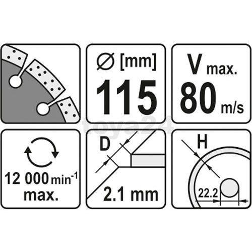 Tarcza diamentowa, segmentowa 115 mm Yato YT-6002 - ZYSKAJ RABAT 30 ZŁ, YT-6002
