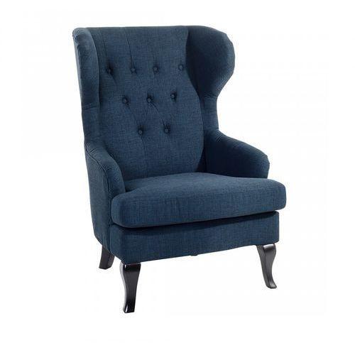 Fotel ciemnoniebieski - tapicerowany - pikowany - do salonu - Ventidue