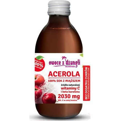 Sok z miąższem z aceroli wiśnia z barbados bez cukru marki Owoce z dżungli - OKAZJE