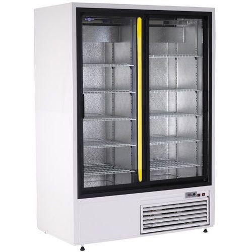Szafa chłodnicza przeszklona w obudowie ze stali nierdzewnej, drzwi suwane 1108 l | RAPA, Sch-SR 1400 NZW