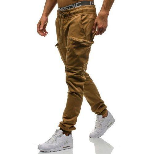 Spodnie joggery bojówki męskie camelowe Denley 0475, bojówki