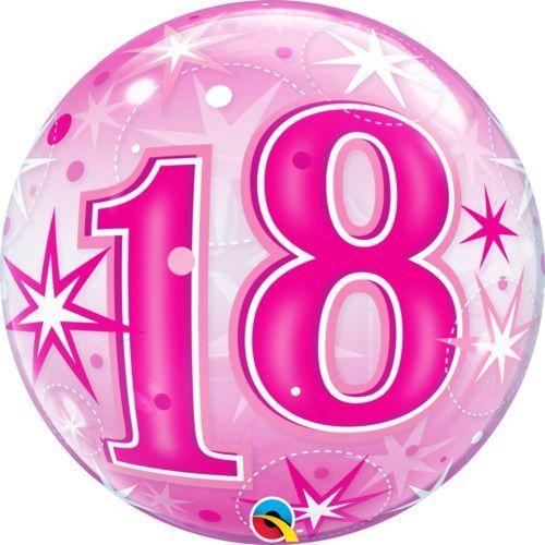 Balon foliowy bubble na 18 urodziny różowy - 56 cm