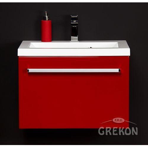 Czerwona szafka wisząca z umywalką 60/39 seria Fokus CZ, kolor czerwony