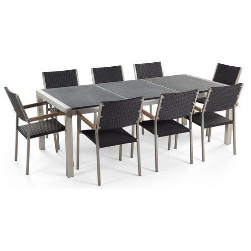 Zestaw ogrodowy naturalny kamień 220 cm 8-osobowy krzesła rattanowe grosseto marki Beliani