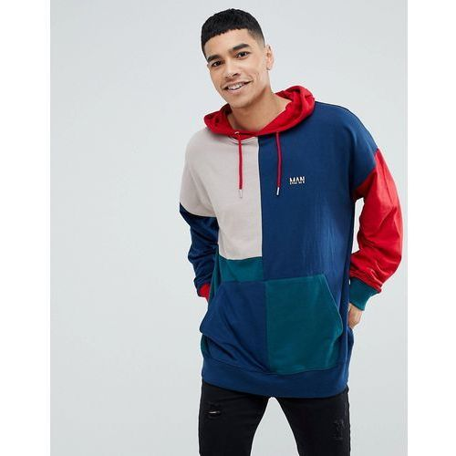 boohooMAN Colour Block Hoodie With Man Embroidery In Multi Colour - Multi