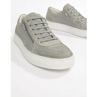HUGO Futurism Low Zip Suede Trainer in Light Grey - Grey, kolor szary