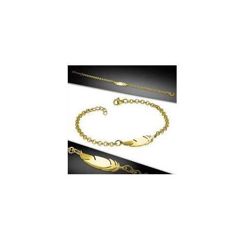 Bransoleta z przywieszkami ze stali nierdzewnej w kolorze złota, stal 316l marki 925.pl
