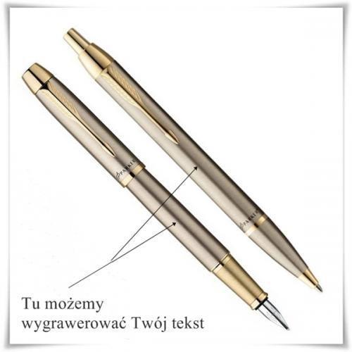 OKAZJA - Zestaw długopis i pióro Parker IM Brushed Metal GT z opcją graweru