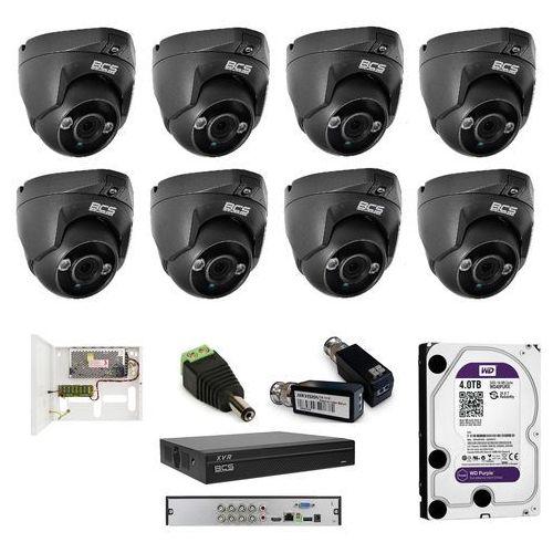 BCS-DMQE1200IR3 analogowy zestaw na 8 kamer kopułowych BCS 3,6mm, IR 30m, 2Mpx.