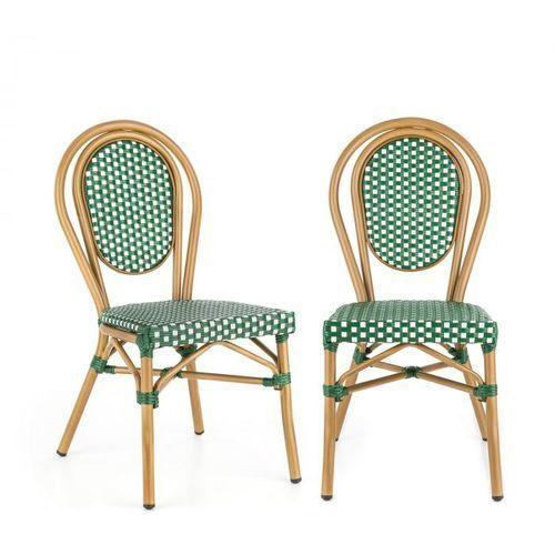 Blumfeldt montpellier gr krzesło możliwość ułożenia jedno na drugim rama aluminiowa polirattan kolor zielony (4060656152818)