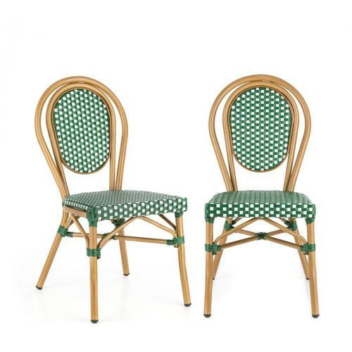 Blumfeldt montpellier gr krzesło możliwość ułożenia jedno na drugim rama aluminiowa polirattan zielony (4060656152818)