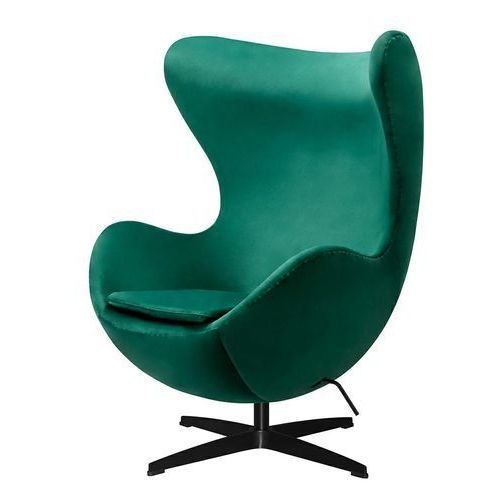 Fotel inspirowany EGG JAJO CLASSIC VELVET BLACK zielony - welur, podstawa czarna (5900000048772)