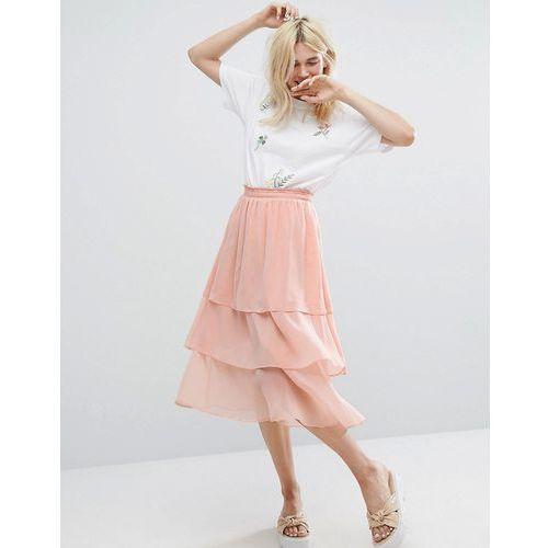 Monki Ruffle Layered Midi Skirt - Pink