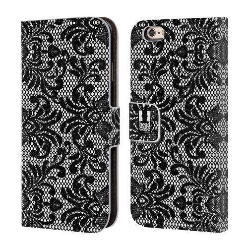 Etui portfel na telefon - Black Lace DAMASK, kolor czarny