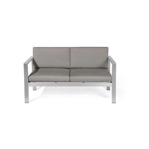 Beliani Sofa ogrodowa aluminium 2-osobowa ciemnoszare poduchy salerno