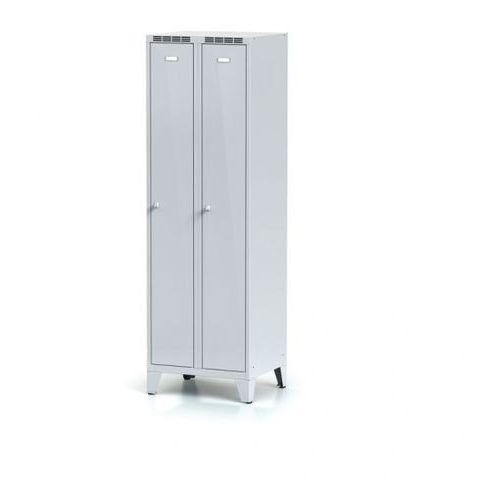 Metalowa szafka ubraniowa, na nogach, drzwi szare dwupłaszczowe, zamek obrotowy