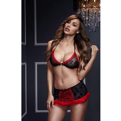 Baci Komplet ze sznurowaną spódniczką -  bra top & black red lace up garterskirt