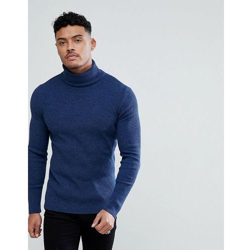 ASOS Knitted Muscle Fit Ribed Roll Neck Jumper In Denim Blue - Blue
