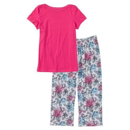 Piżama ze spodniami 3/4 ciemnoróżowy z nadrukiem marki Bonprix