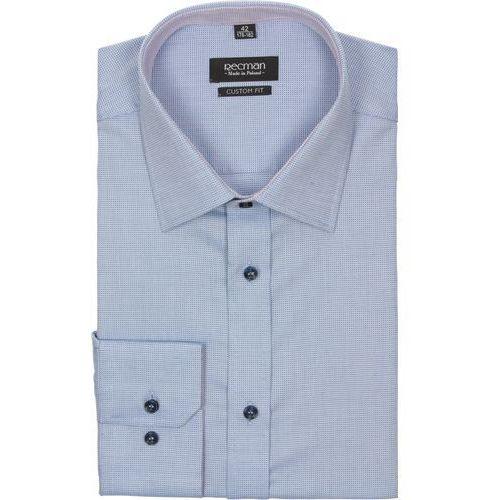 koszula bexley 2212 długi rękaw custom fit niebieski, bawełna