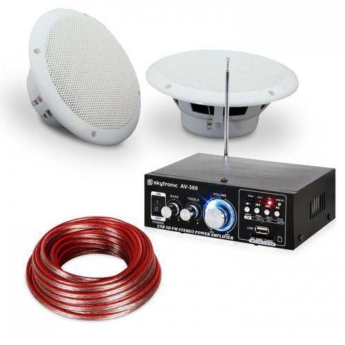 """Electronic-Star Zestaw audio ze wzmacniaczem Hi-Fi i wodoszczelnymi kolumnami 6,5"""" na taras lub"""