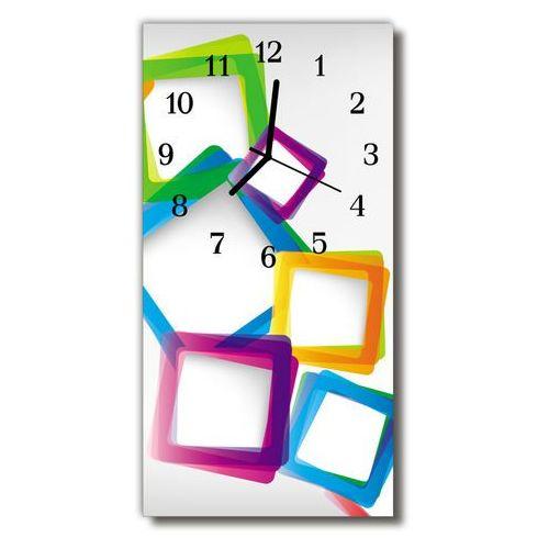 Zegar Szklany Pionowy Sztuka Kolorowe prostokąty kolorowy, kolor wielokolorowy