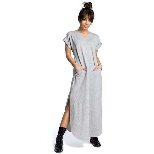 Szara Wyjściowa Długa Sukienka z Rozcięciami na Bokach, w 6 rozmiarach