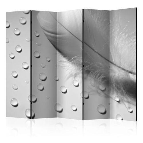 Parawan 5-częściowy - białe piórko ii [room dividers] marki Artgeist