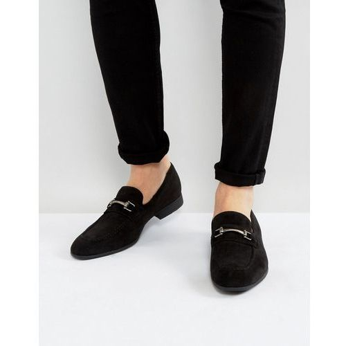 Asos loafers in black faux suede with snaffle detail - grey