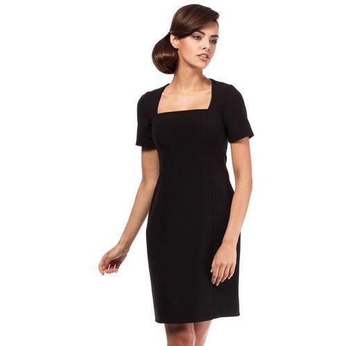 Czarna Klasyczna Sukienka Wizytowa z Dekoltem Karo, kolor czarny