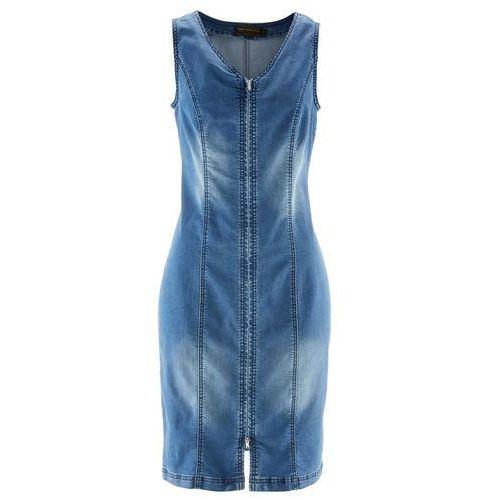 Bonprix Sukienka dżinsowa z zamkiem niebieski