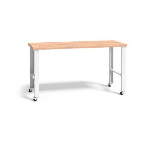 Stół warsztatowy z drewnianym blatem, regulowane nogi z kółkami, 1500mm marki B2b partner
