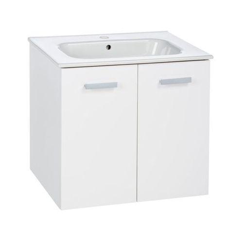 Roca Victoria basic unik zestaw łazienkowy 585 x 450 x 565 mm biały połysk szafka z 2 drzwiami z umywalką 60 cm, z otworem na baterię, z zestawem montażowym a855883806 (8433290233148)