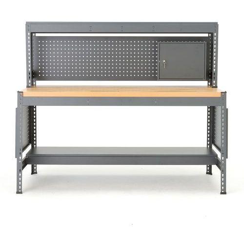 Stół warsztatowy COMBO, z panelem narzędziowym, oświetleniem i szafką, dąb, 281572