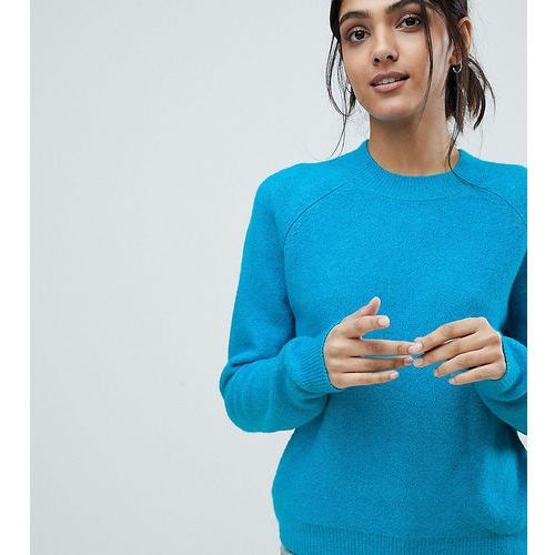 Asos tall Asos design tall jumper in fluffy yarn with crew neck - blue