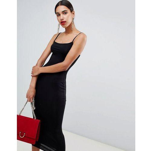 cami square neck midi dress - black, Boohoo