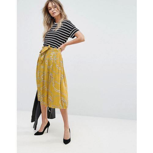 chain print midi skirt - yellow marki Mango