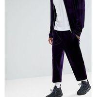 Reclaimed vintage inspired relaxed fit trouser in purple velvet - purple