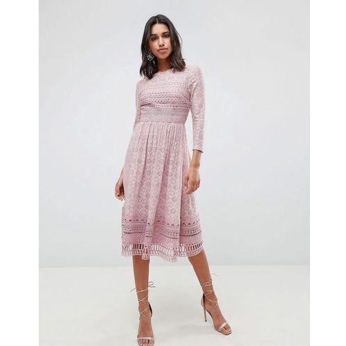 lace midi skater dress - pink marki Asos design
