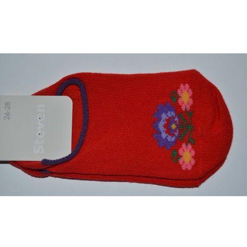 Stopki dziecięce ze wzorem ludowym, z łowickimi kwiatami, czerwony, rozm. 32-34 marki Steven