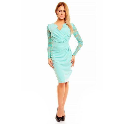 Miętowa Koronkowa Sukienka z Założeniem Kopertowym, kolor zielony