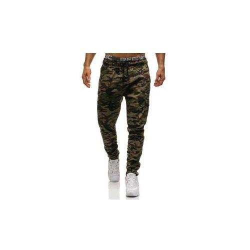 Spodnie bojówki męskie moro-zielone Denley 0857, kolor zielony